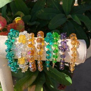 Jewelry - Colorful diamond cut crystal bracelet bundle
